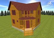 Проект дом из бруса 7х7, с балконом