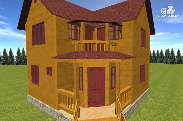 Фото 6: проект дом из бруса 7х7, с балконом