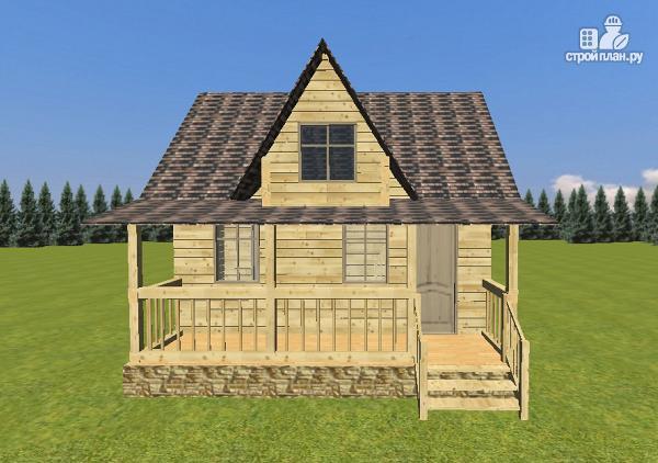 Фото 2: проект дом-баня из бруса 6х6 с большой террасой