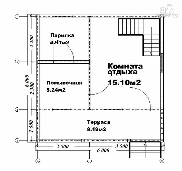 Фото 10: проект дом-баня из бруса 6х6 с большой террасой