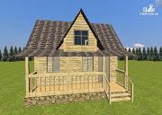Фото: дом-баня из бруса 6х6 с большой террасой