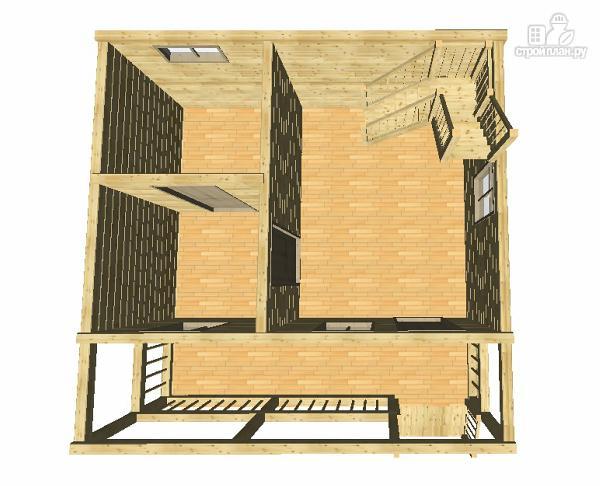 Фото 11: проект дом-баня из бруса 6х6 с большой террасой