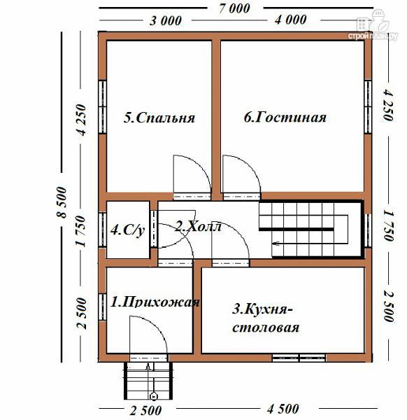Фото 6: проект дом из бруса 7х8.5, трехэтажный