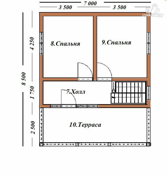 Фото 8: проект дом из бруса 7х8.5, трехэтажный