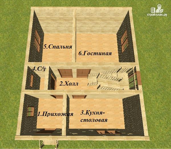 Фото 7: проект дом из бруса 7х8.5, трехэтажный