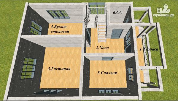 Фото 9: проект дом из бруса 7х9 с террасой и балконом