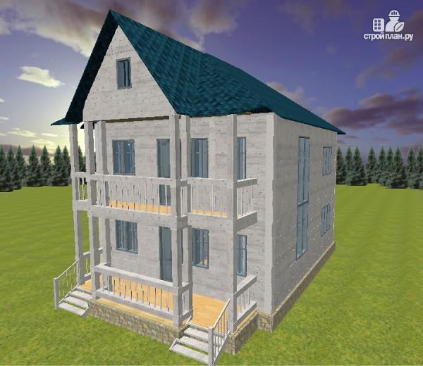 Фото: проект дом из бруса 7х9 с террасой и балконом