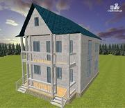 Фото: дом из бруса 7х9 с террасой и балконом