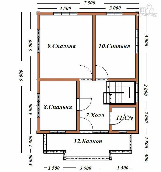 Фото 10: проект дом из бруса 7х9 с террасой и балконом