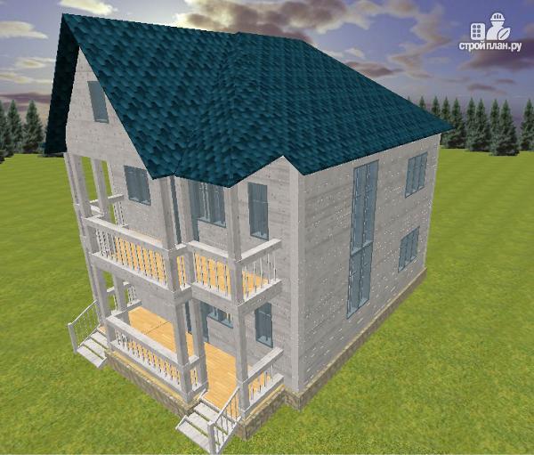 Фото 2: проект дом из бруса 7х9 с террасой и балконом