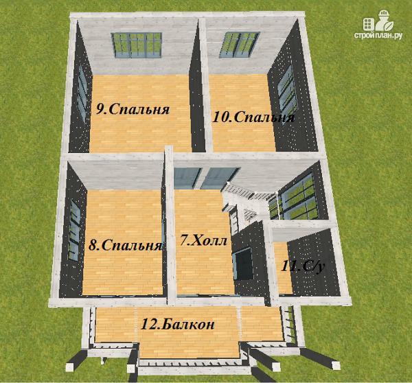 Фото 11: проект дом из бруса 7х9 с террасой и балконом