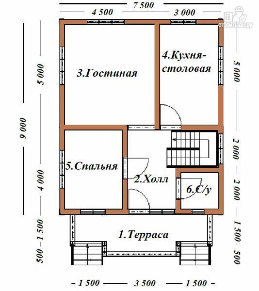 Фото 8: проект дом из бруса 7х9 с террасой и балконом