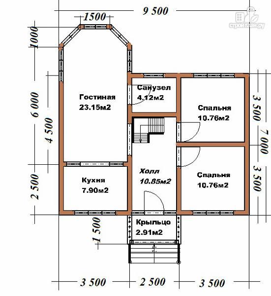 Фото 11: проект дом из бруса 7х9 с эркерами и балконами