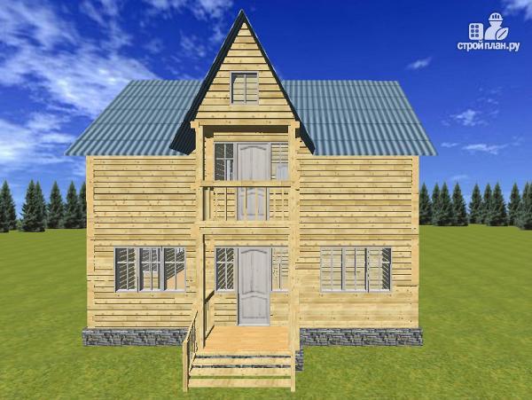 Фото: проект дом из бруса 7х9 с эркерами и балконами