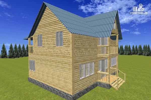 Фото 2: проект дом из бруса 7х9 с эркерами и балконами