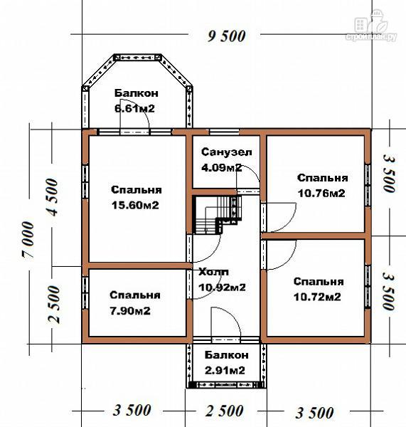 Фото 13: проект дом из бруса 7х9 с эркерами и балконами