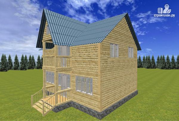 Фото 3: проект дом из бруса 7х9 с эркерами и балконами