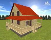 Проект дом из бруса 7х9 с большой летней террасой