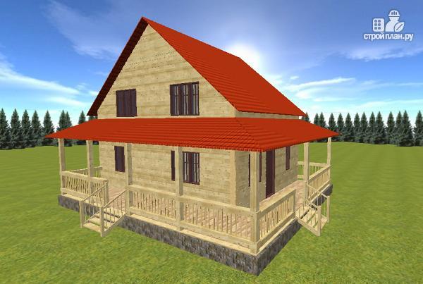 Фото 2: проект дом из бруса 7х9 с большой летней террасой