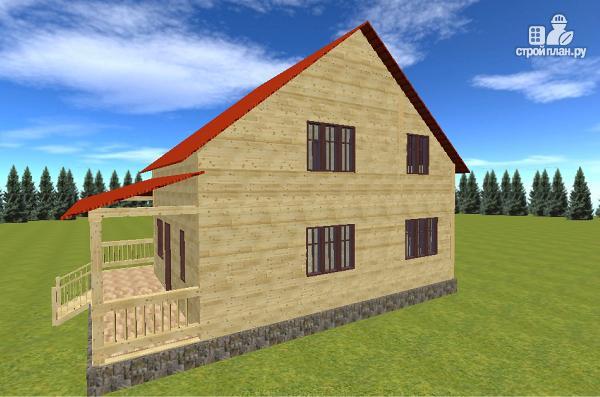Фото 6: проект дом из бруса 7х9 с большой летней террасой