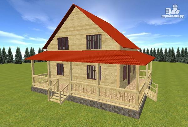 Фото 3: проект дом из бруса 7х9 с большой летней террасой