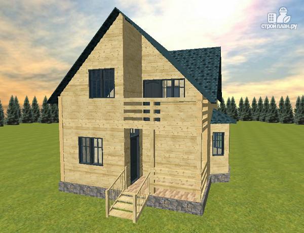 Дом из бруса с эркером и балконом, проект фортуна.