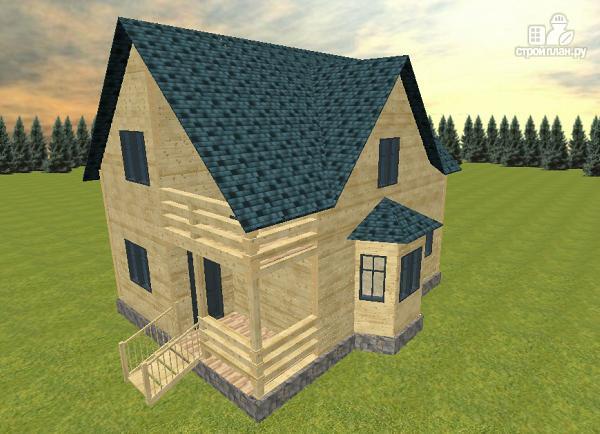 Фото 2: проект дом из бруса с эркером и балконом