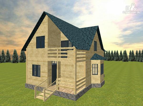 Фото: проект дом из бруса с эркером и балконом