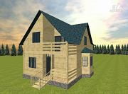 Фото: дом из бруса с эркером и балконом