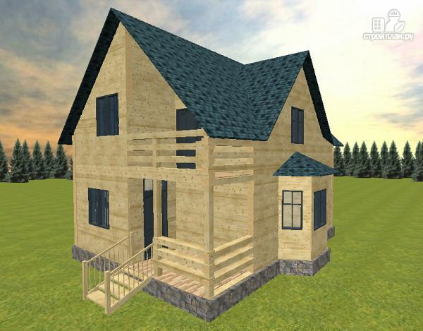 Фото 3: проект дом из бруса с эркером и балконом