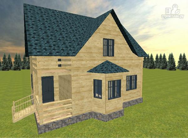 Фото 5: проект дом из бруса с эркером и балконом