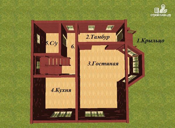 Фото 9: проект дом из бруса с эркером 8х9