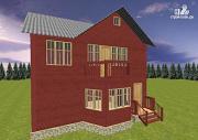 Проект дом из бруса с эркером 8х9