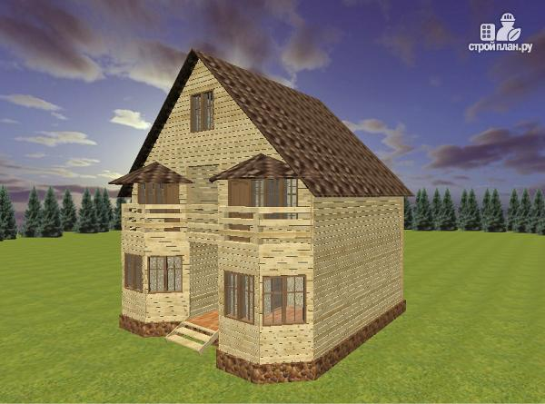 Фото 4: проект дом из бруса 7х9 с эркерами и балконом