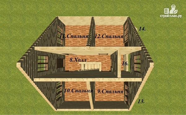 Фото 10: проект дом из бруса 7х9 с эркерами и балконом