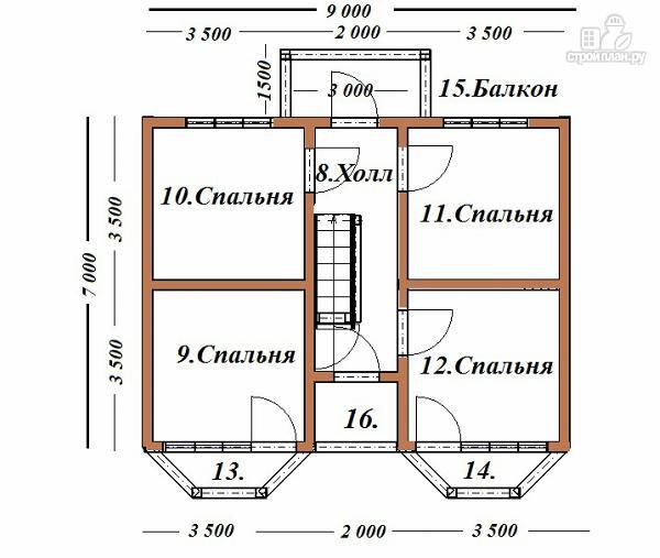 Фото 9: проект дом из бруса 7х9 с эркерами и балконом