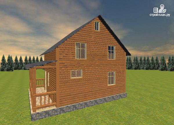 Фото 6: проект дом из бруса 7х8 с летней террасой