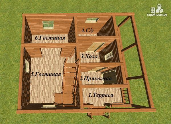 Фото 9: проект дом из бруса 7х8 с летней террасой
