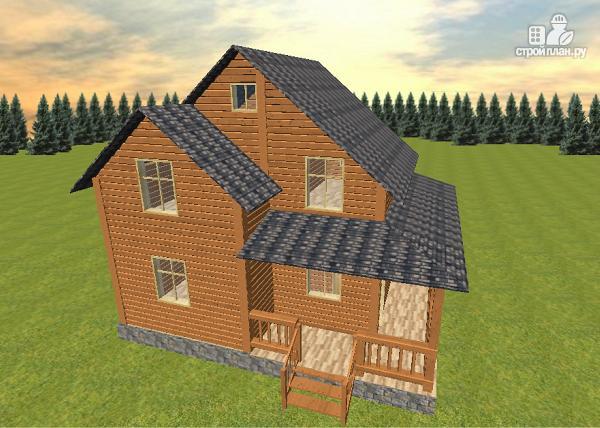 Фото: проект дом из бруса 7х8 с летней террасой