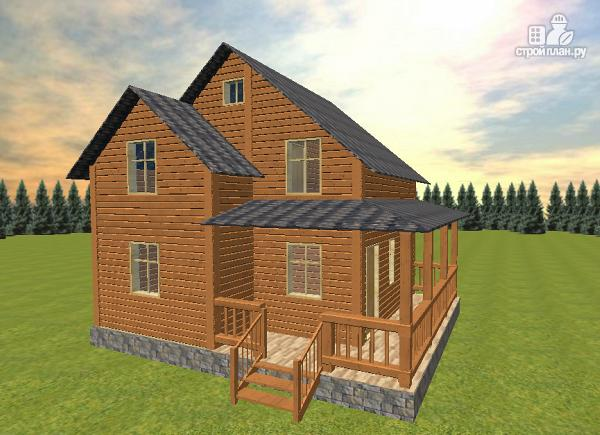 Фото 3: проект дом из бруса 7х8 с летней террасой