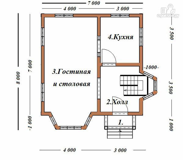 Фото 7: проект дом из бруса 7х8 с двумя эркерами