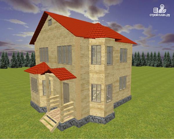 Фото 3: проект дом из бруса 7х8 с двумя эркерами
