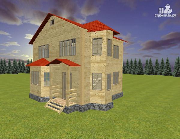 Фото: проект дом из бруса 7х8 с двумя эркерами