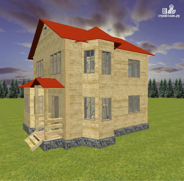 Фото 2: проект дом из бруса 7х8 с двумя эркерами