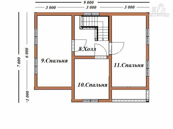 Фото 10: проект двухэтажный дом из бруса 7х9