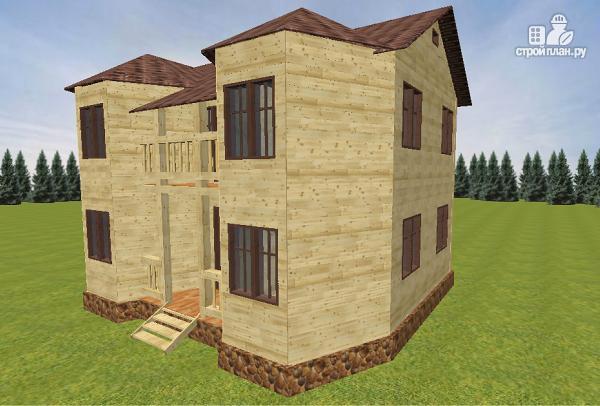 Фото 2: проект дом из бруса с эркерами и балконом