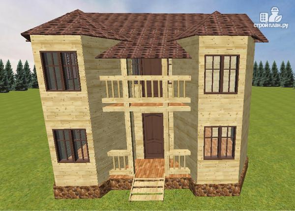 Фото 5: проект дом из бруса с эркерами и балконом
