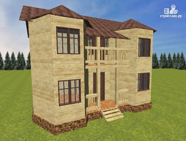 Фото: проект дом из бруса с эркерами и балконом