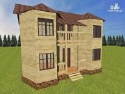 Проект дом из бруса с эркерами и балконом