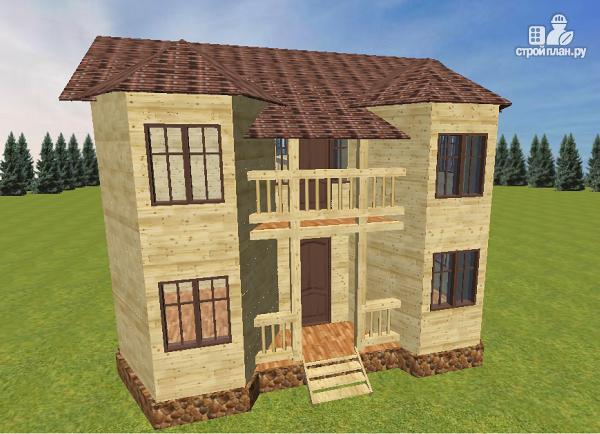 Фото 4: проект дом из бруса с эркерами и балконом
